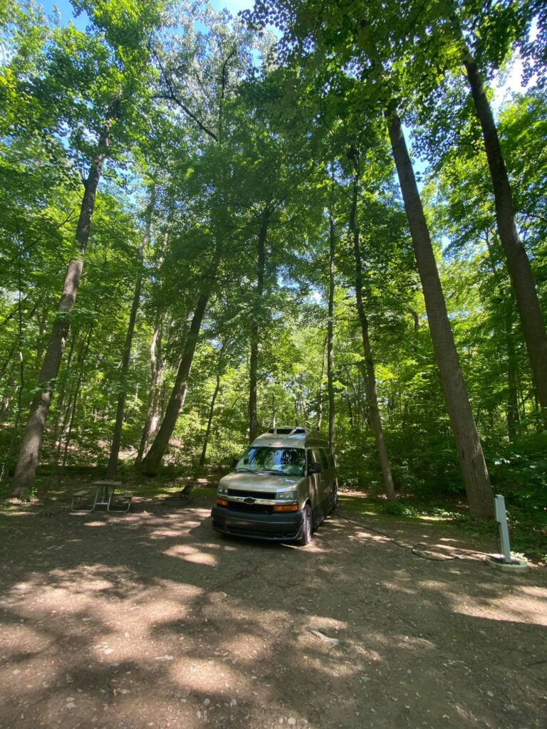 Camp spot in Mills-Norrie state park.