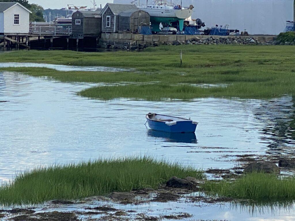 Boat in salt marsh in Salem